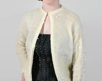 ON SALE 50s 60s Sequined Sweater / Cream / Vintage Wedding / Party Dress