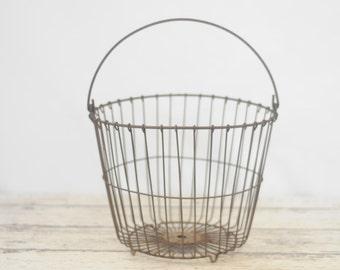 Vintage Wire Egg Gathering Basket Rusty Wire Egg Basket