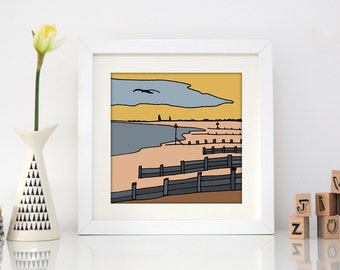 West Wittering, Sussex - Square Hand Drawn Seaside Illustration Print - Beach drawing - Ocean - Nautical print - sunset at The Witterings