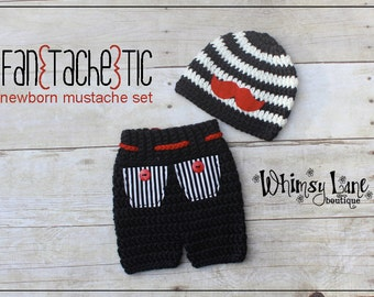 Newborn Mustache Hat and Shorts - Stripes - Baby Boy - Photo Prop