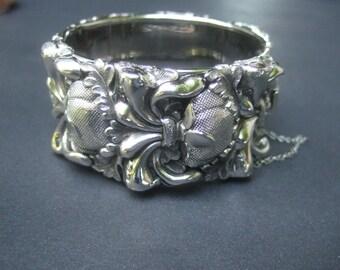 Ornate Silver Metal Wide Repousse Cuff