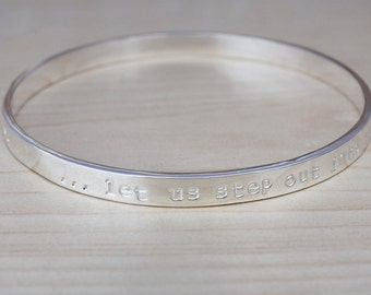 Silver Message Bangle - Sterling Silver