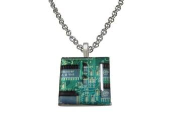 Square Green Computer Circuit Pendant Necklace