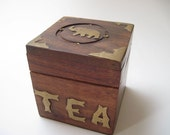 Vintage Wood and Brass Tea Box with Elephant