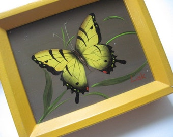 Vintage Yellow  Butterfly Oil Painting on Masonite Signed Lak