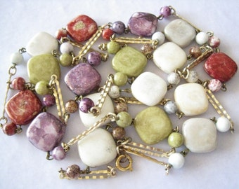 """CLEARANCE 49"""" Long Colorful Ceramic Bead & Chain Link Vintage Necklace.  Beads Resemble Stone."""