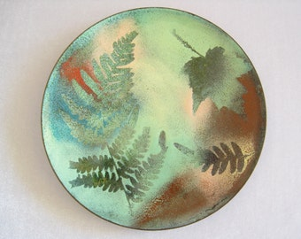 """CLEARANCE Signed Enamel on Copper 6"""" Vintage Plate. 1970'S Studio Piece. Fern & Leaf Designs. Many Green Shades Plus Blue, Red, Pink, Rust."""