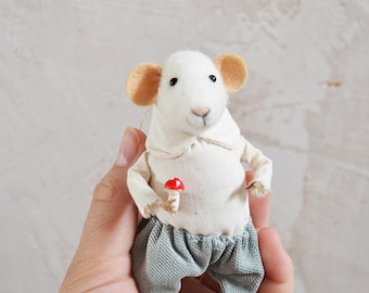 Fairytale Little Mouse Art Doll- Needle Felted Doll Rustles from the Meadow