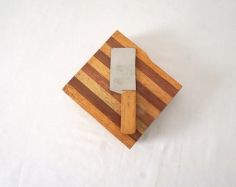 Vintage Round Wood Cheese Block with Knife That Fits Inside
