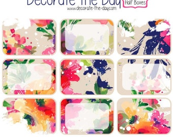 Floral Half Boxes - Planner Stickers