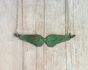Patina Wing Necklace Verdigris Wings Angel Steampunk Military