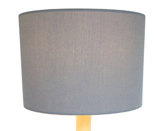 "30cm / 12"" Light Grey Cotton Fabric Drum Lampshade / Lightshade / Ceiling Pendant FREE UK POSTAGE"
