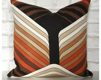 "Handmade Vintage 70s Orange Brown Graphic Fabric Cushion Cover 16"" x 16"""