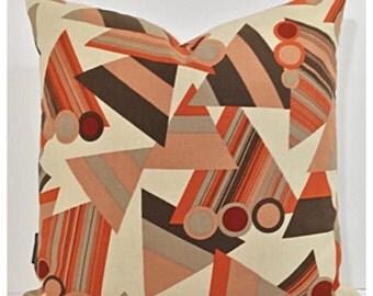 "Vintage Heals Fabric Cushion Cover  ""Trigon"" Teresa Dupuy 16"" x 16"" Modernist Abstract"