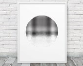 Abstract Halftone Circle Printable. Geometric Abstract Black & White Dots. Minimalist Art Home Office Decor. Instant Download Digital Print
