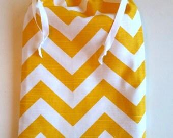 Gift Bag Yellow Chevron, reusable drawstring bag for gift giving - American Made