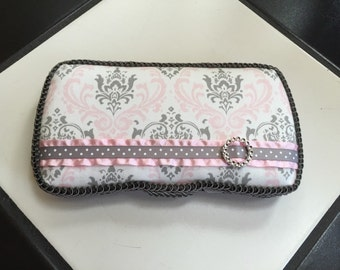 Boutique Diaper Wipes Travel Case Pink Gray Grey White Damask Girl Nursery