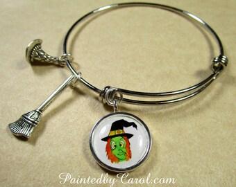 Witch Bracelet, Witch Bangle, Witch Jewelry, Halloween Bracelet, Halloween Bangle, Halloween Jewelry, Halloween Gift, Gift with Witch