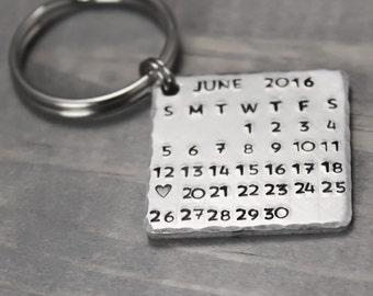 Calendar Key Chain, Anniversary Gift, Stamped Calendar, Save The Date Calendar, HandStamped Gift, Hand Stamped, Birthday Calendar,
