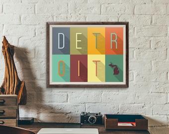 Detroit Grid - Typography Print