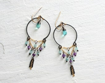 Black & Gold Amethyst and Apatite Chandelier Earrings//Boho Chandelier Earrings//Bohemian Earrings//Sterling Silver(Oxidized) and Gold Fill