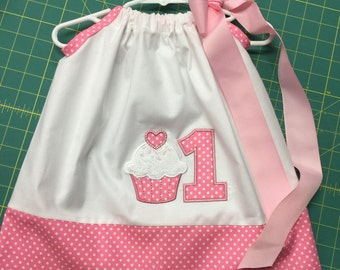 Birthday Girl Cupcake Ribbon * Pillowcase * Dress