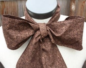 Upcycled Steampunk Clothing, Mad Hatter Bow Tie- Alice in Wonderland (Brown Cotton Print) Neck Tie, Handmade Bow Tie