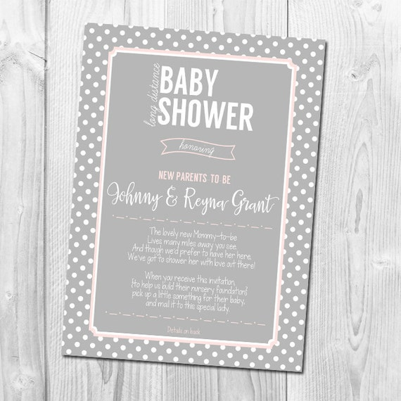 long distance baby shower invitation by littlebluepapershop