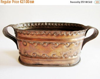 SUMMER SALE - Lovely German Vintage Rustic Copper Flower Planter with Dots, Rustic Folk Art Home Decor