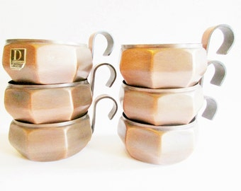 Set of 6 Copper Tea Cup Holders Rectangular Shaped with Handles,  Modern Housewares, in a typical 70s Design