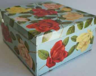 Vintage Floral Biscuit Tin Metal Box Roses Flowers Made in England English Tin