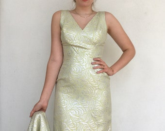 Stunning 1960's chartreuse and silver brocade Lilli Diamond wiggle dress and jacket set