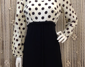 Classic 1960's crepe black and white polka dot wiggle dress