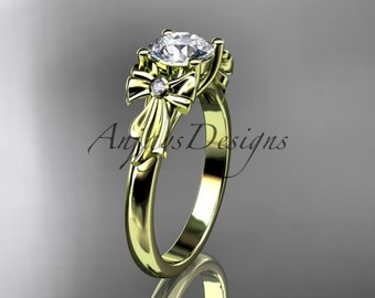 """14kt yellow gold diamond unique engagement ring, wedding ring with a """"Forever One"""" Moissanite center stone ADER154"""