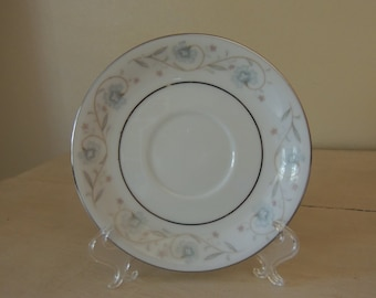 NINE (9) Saucers ONLY English Garden Pattern 1960s Small Plates Blue Pink Gray Platinum Romantic Table Wedding Table Reception