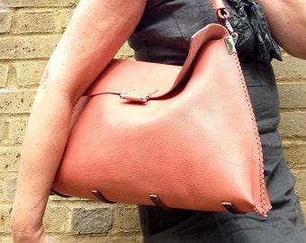 SALE! One-off handstitched in UK large burnt orange or peach leather shoulder bag