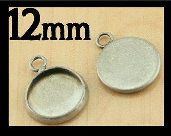 ANTIQUE SILVER 12mm Bezel Trays - Great for Earrings, Charm Drops for bracelet, pendants. - Pick your quantity from the drop down.