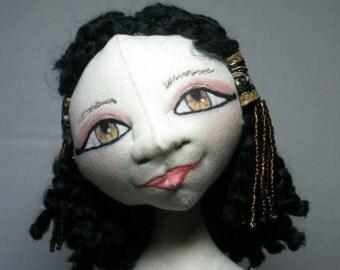 Pharoah's Daughter Cloth Art Doll, Fantasy History Art Doll, Standing Doll Display Decor