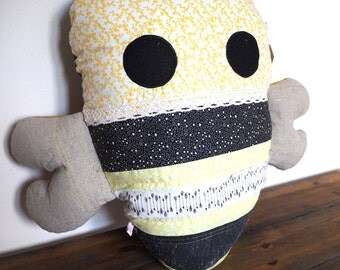 FOR SALE Meet Bramble. The Retro Bumble Bee Cushion / Soft Toy Bee Pillow, Bumble Bee Plushie