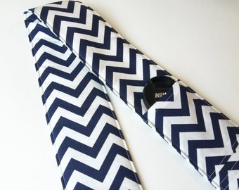 Camera Strap Cover - dslr camera strap with 2 Lens Cap Pockets and padding - blue chevron (photographer gift)