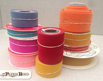 Lot of Mid Century Velvet Ribbon 10 spools Orange Red Pink Blue Yellow