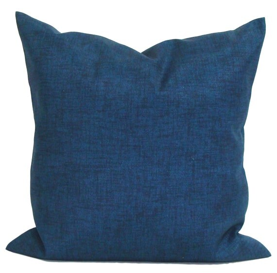 SOLID BLUE OUTDOOR Pillow Navy Blue Pillow Cover Blue