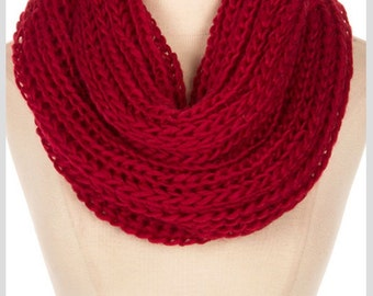 Hand Knit knitted Scarf, red knit scarf snood, monogram gift, personalized Gift, Womens Gift, scarf Knit, Knit Infinity Scarf - By PiYOYO