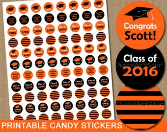 Personalized Graduation Candy Labels - Printable Chocolate Drop Stickers - Class of 2016 Party Favors - Orange and Black Favor Stickers
