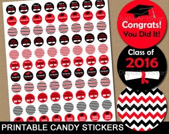 Chevron Graduation Candy Stickers Red and Black - Candy Labels 2016 Graduation Party Favors Chocolate Drop Labels - Graduation Party Ideas