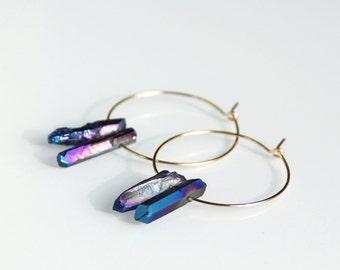 Aura Quartz Hoop Earrings - Rainbow, Blue, Gold Hoop, Metallic, Drop Earrings