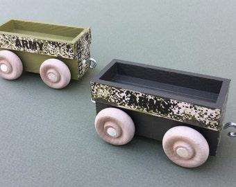 Wooden Toy Train Gondola Car for Army Train, Woodland Camouflage