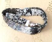 Peyote Flat Weave Handmade Seed Bead Bracelet