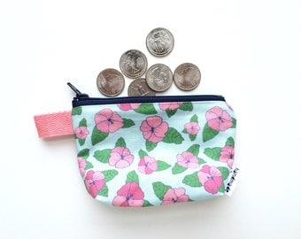 Hibiscus Divided Mini Flat Bottom Pouch / Coin Purse (handmade philosophy's pattern)