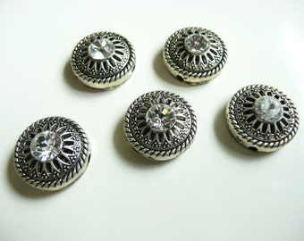 Swarovski Crystal Rotunda Antique Silver Plated 1 Hole Slider Bead - 14mm - Round Crystal -  5 pieces